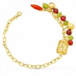 Pulsera oro 18k mujer 19.5 cm. jaula piedras colores forzada mosquetón