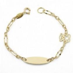 Esclava pulsera oro 18k bebé 13 cm. eslabones combinados osito calado chapa lisa reasa