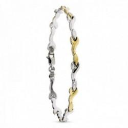 Pulsera plata Ley 925m mujer semirrígida combinada chapada oro  formas variadas onduladas mosquetón
