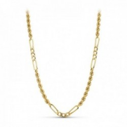 Cordón cadena oro 18k hombre 50 cm. salomónico combinado eslabones