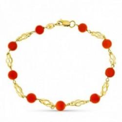 Pulsera oro 18k mujer 19 cm. jaulas combinadas coral fino japonés mosquetón