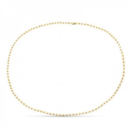 Gargantilla collar oro 18k mujer 45 cm. anillas combinadas perlas mosquetón