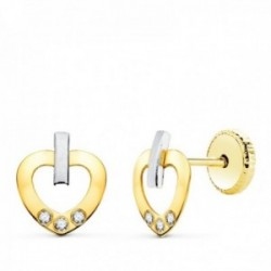 Pendientes oro bicolor 18k mujer 8.5 mm. corazón calado combinado circonitas barra vertical tornillo