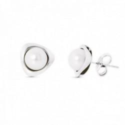 Pendientes oro blanco 18k mujer 9 mm. forma triángulo combinado perla central presión