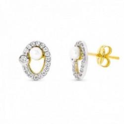 Pendientes oro bicolor 18k mujer 9 mm. ovalados calados combinados perla circonitas bordes presión