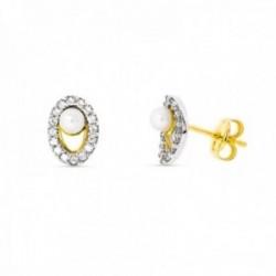 Pendientes oro bicolor 18k mujer 8 mm. circonitas bordes combinadas caladas perlas presión