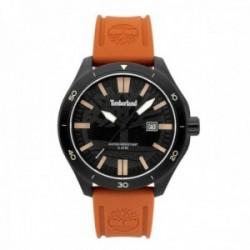Reloj Timberland hombre 15418JSB-02P Ashland acero negro silicona naranja visualización fecha