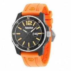 Reloj Timberland hombre 15042JPBS-02P Westmore acero negro silicona naranja visualización fecha