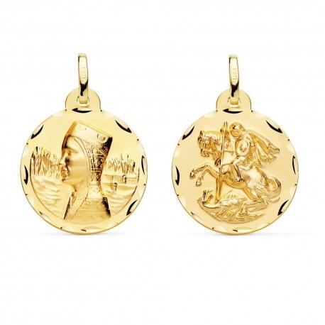 Medalla oro 18k Virgen Montserrat San Jorge 20mm. [AA0614]