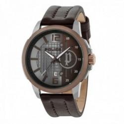 Reloj Police hombre R1451291003 Squad 3H acero inoxidable piel bisel marrón visualización fecha