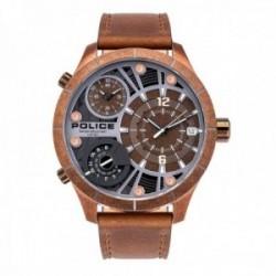 Reloj Police hombre PL.15662XSQR-12 Bushmaster Dualt Brown acero inoxidable piel visualización fecha
