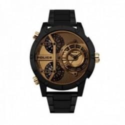 Reloj Police hombre PEWJG2118103 Vibe acero inoxidable negro detalles dorados visualización día