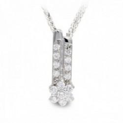 Gargantilla oro blanco 18k mujer cadena colgante barras verticales circonitas combinadas estrella
