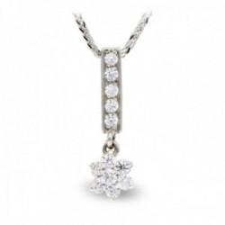 Gargantilla oro blanco 18k mujer cadena colgante barra vertical circonitas estrella