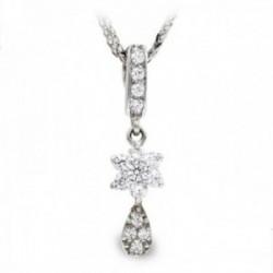 Gargantilla oro blanco 18k mujer cadena colgante lágrima combinada estrella barra circonitas