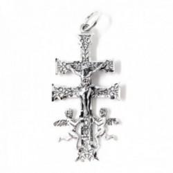 Cruz Caravaca colgnate plata Ley 925m maciza 5.7 cm. Virgen detrás detalles tallados