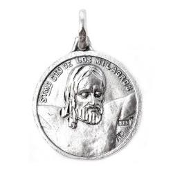 Santísimo Cristo de los Milagros con Virgen de Zamarrilla medalla escapulario plata Ley 925m maciza 20 mm.