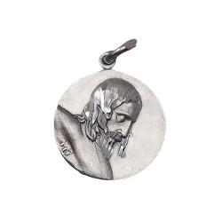 Cristo de Mena con Nuestra Señora de la Soledad Málaga medalla escapulario plata Ley 925m maciza 20 mm.